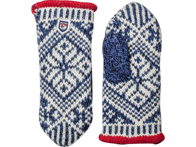 Hestra Nordic Wool Moufles, medium blue/off-white